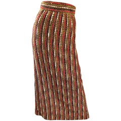 1970s Brown + Olive Green + Red Boucle High Waisted Wool vintage 70s Maxi Skirt