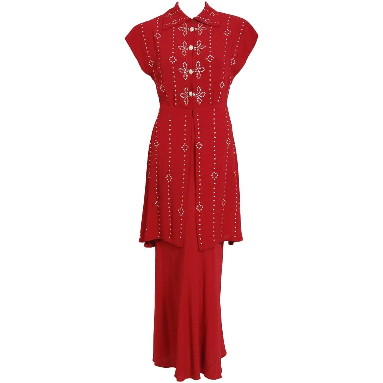 1930's Couture Merlot Red Crepe Bias-Cut Belted Gown & Rhinestone Studded Jacket