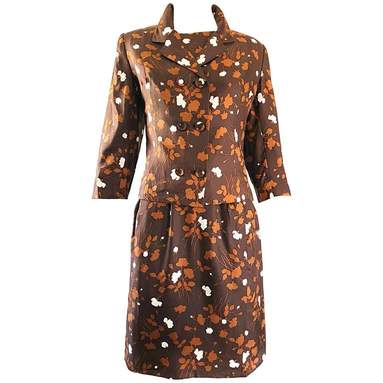 Chic 1960s Brown + Rust Silk Dress and 3/4 Sleeves Jacket Vintage 60s Suit Set