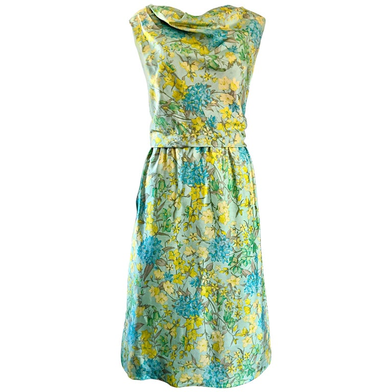 f1c71cf6c72 House of Lord s 1960s Blue Yellow Green Chic Pastel Vintage 60s Silk Shift  Dress For Sale
