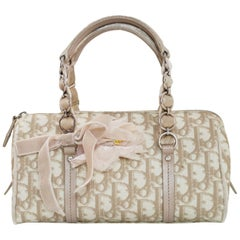 Christian Dior Beige Monogram Trotter Romantique Floral Bow Small Boston Bag