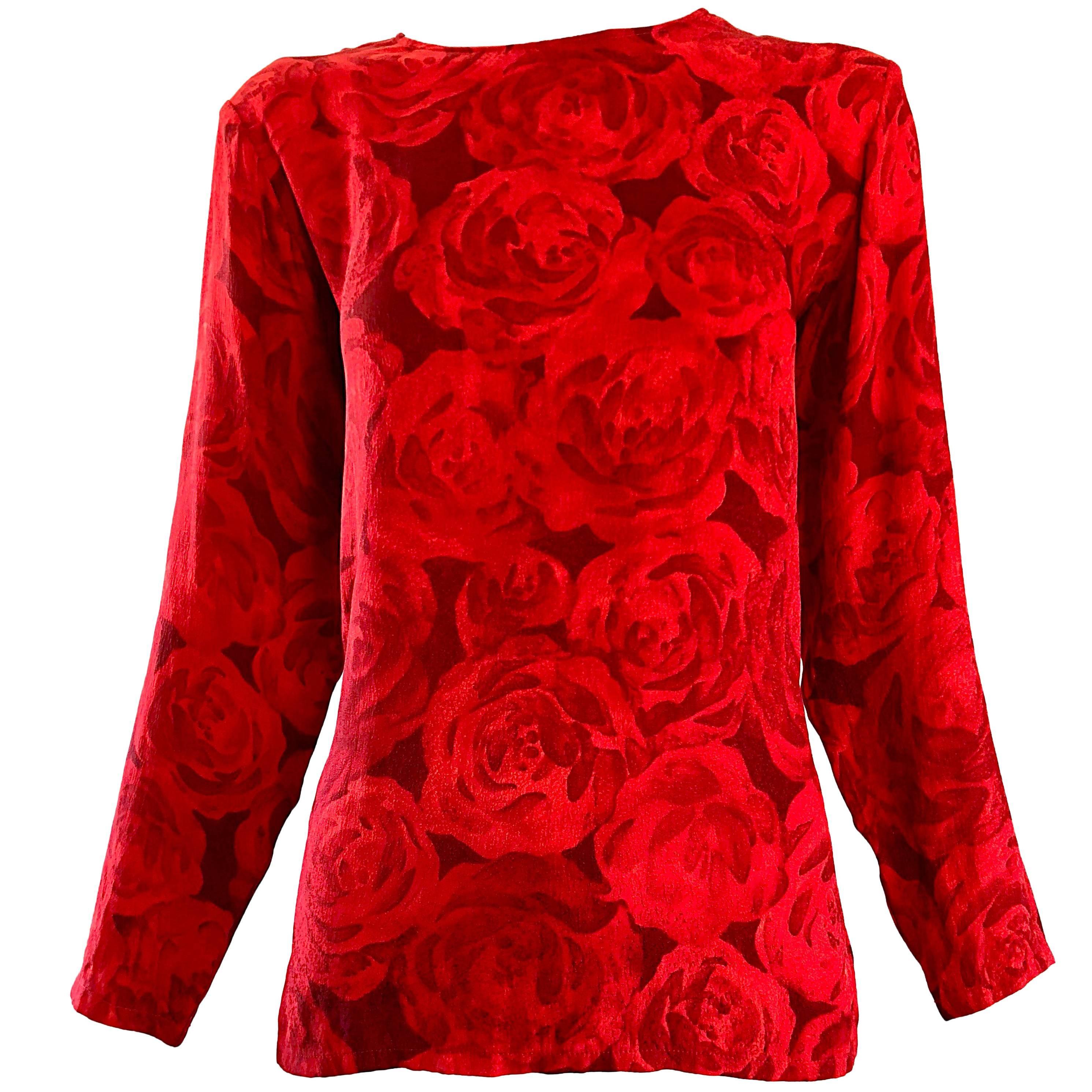 1990s Yves Saint Laurent Rive Gauche Rose Print Red Silk Vintage 90s Blouse Top