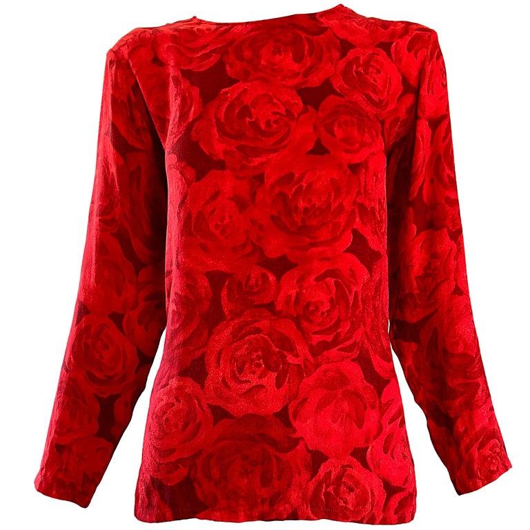 1990s Yves Saint Laurent Rive Gauche Rose Print Red Silk Vintage 90s Blouse Top For Sale