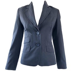 John Galliano Early 2000s Size 42 Gray + Purple Pinstripe Blazer Jacket