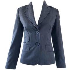 John Galliano Early 2000s Size 42 Gray + Purple Pinstripe Blazer Jacket