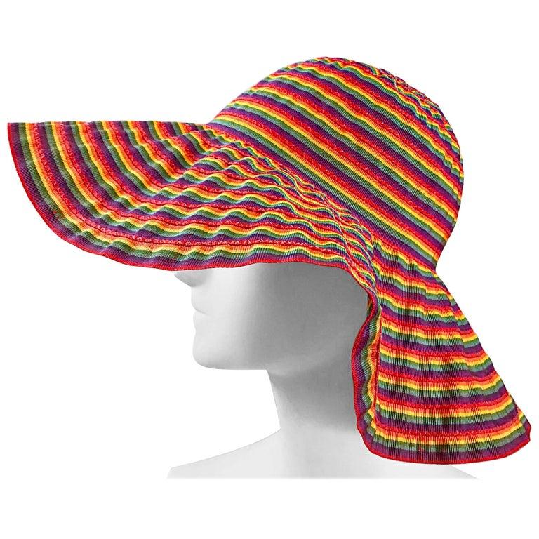 1970s Lanvin Rainbow Striped Floppy Colorful Vintage 70s Hat
