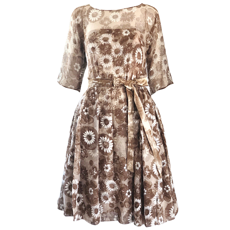 Gorgeous 1950s Saks 5th Avenue Demi Couture Silk Chiffon Beige Vintage 50s Dress