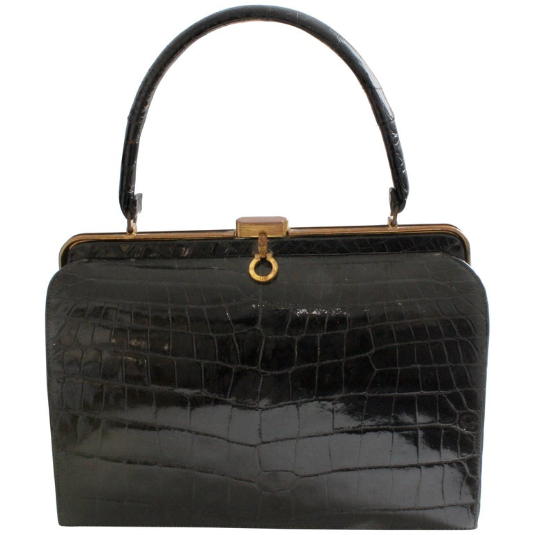 1960s Bellestone Bag Black Crocodile Alligator Exotic Skin Top Handle Belgium
