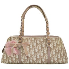 Christian Dior Beige Monogram Trotter Romantique Floral Bow Medium Handle Bag