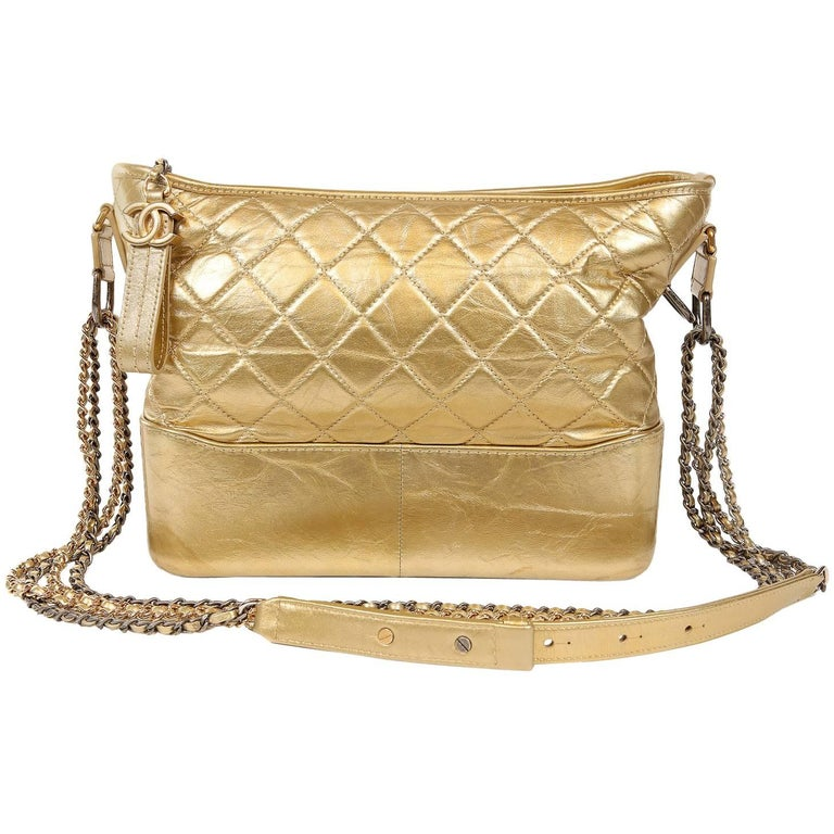 Chanel Gold Aged Calfskin Gabrielle Crossbody Hobo