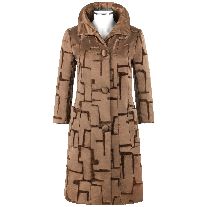 BEN ZUCKERMAN c.1950's Brown Velvet Flocked Silk Satin Button Up Princess Coat