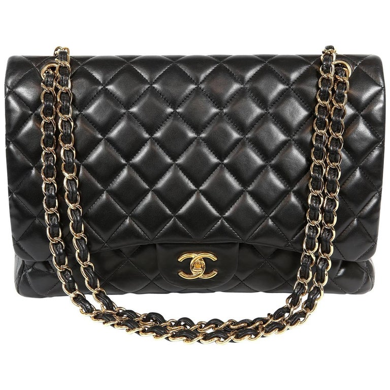 Chanel Black Lambskin Classic Maxi with Gold Hardware