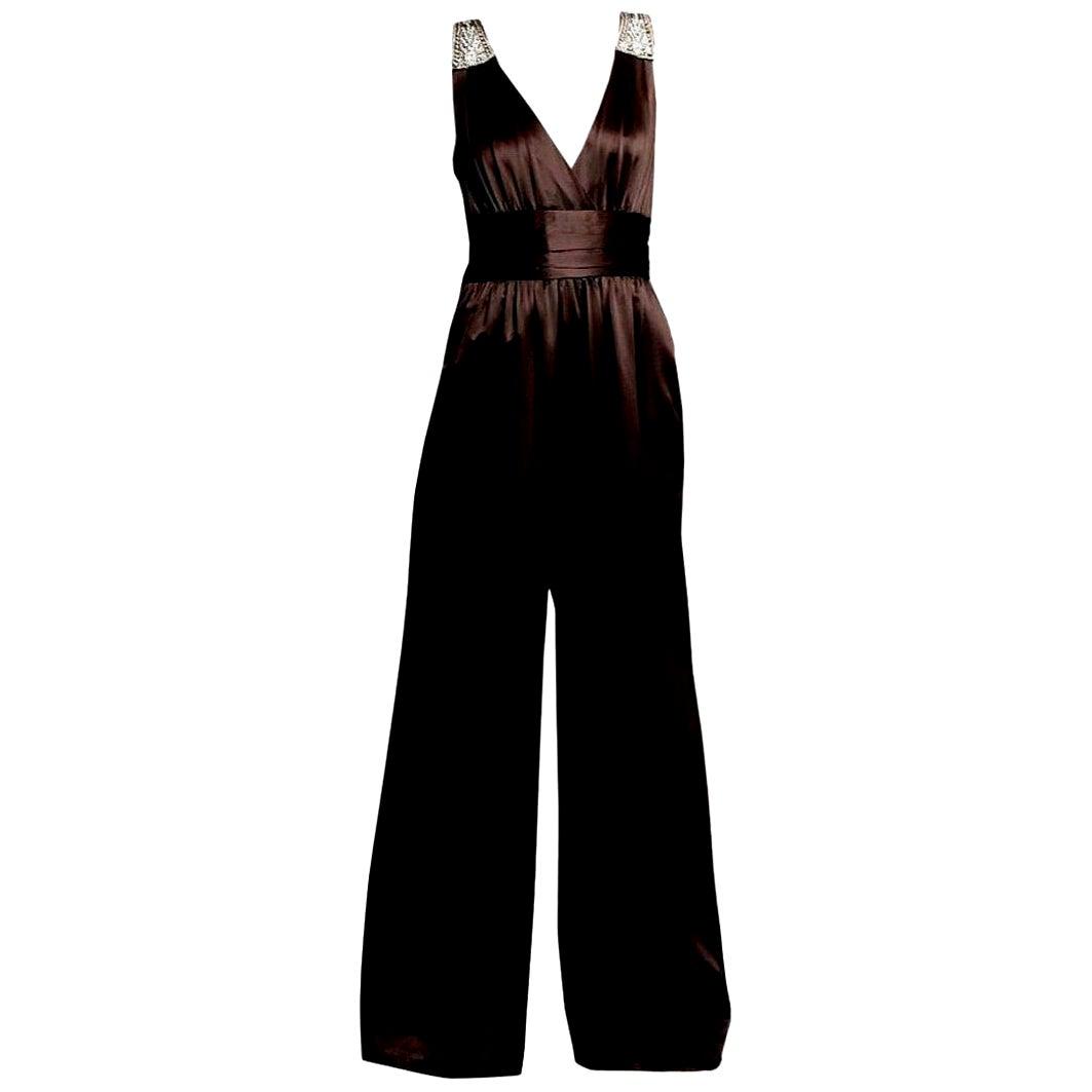 New Badgley Mischka Couture Silk Evening Jumpsuit Dress Gown Sz 2