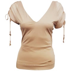 Roberto Cavalli Beige Cap Drawstring Sleeve with Gold Tone Lucky Charms Top