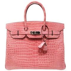 Hermes Birkin Bag 35cm Rose Indienne Alligator with Palladium Hardware