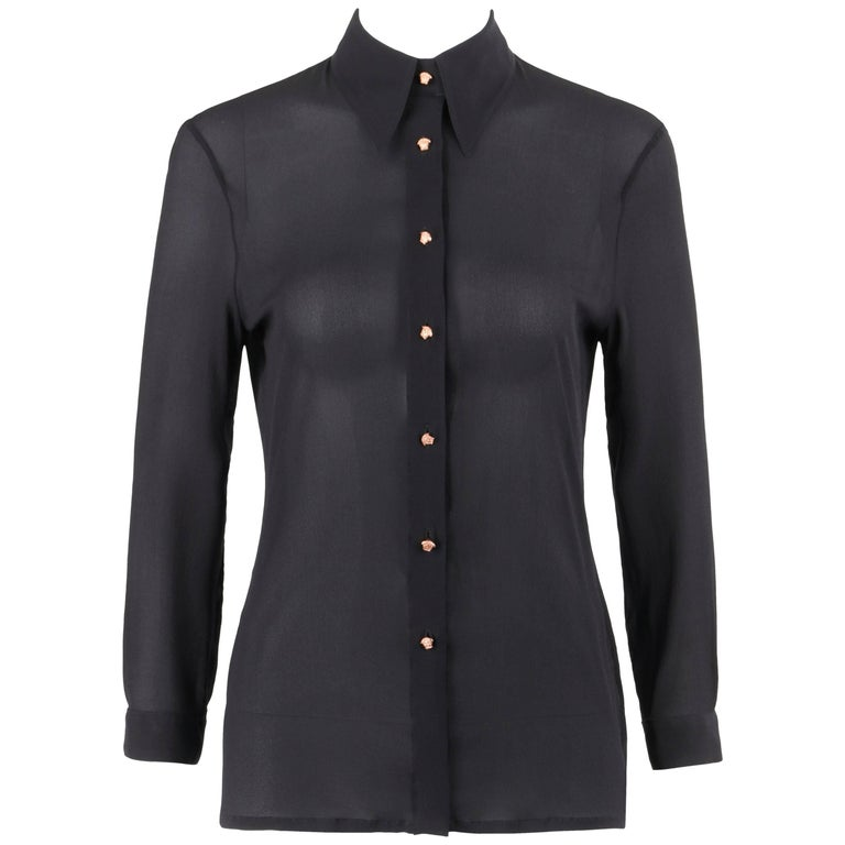 a7dbce4978 GIANNI VERSACE Couture S S 1999 Black Silk Chiffon Medusa Head Button Up  Shirt For Sale at 1stdibs
