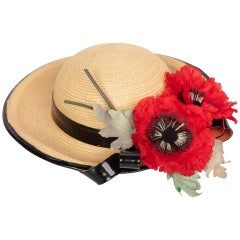 Yves Saint Laurent Straw and Black Patent Leather Red Poppy Flower Hat, 1970s