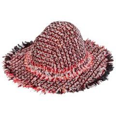 Lanvin by Alber Elbaz Red Multicolored Tweed Hat, 2012