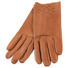 Hermès Classic Gold Leather Driving Gloves- size 6.5