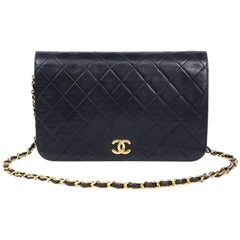 Chanel Black Leather Vintage Clutch with Strap
