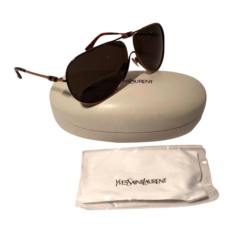 Yves Saint Laurent Sunglasses Brand New *Stunning in Bronze * Crystal Front & Sides * Lightweight * YSL at Temple * Made in Italy * 100% UVA/UVB Protection * Comes with Case, Cleaning Cloth & Tag