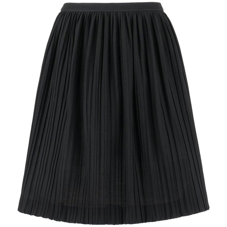 VALENTINO Black Wool Crepe Accordion Pleated Knee Length Skirt