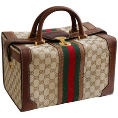 Gucci Logo Doctors Bag Train Case Vanity Webbing Travel Carry On Luggage, 1970s