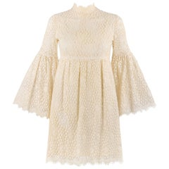 PARC JRS Petite c.1960's Cream Floral Crochet Lace Flounce Sleeve Babydoll Dress