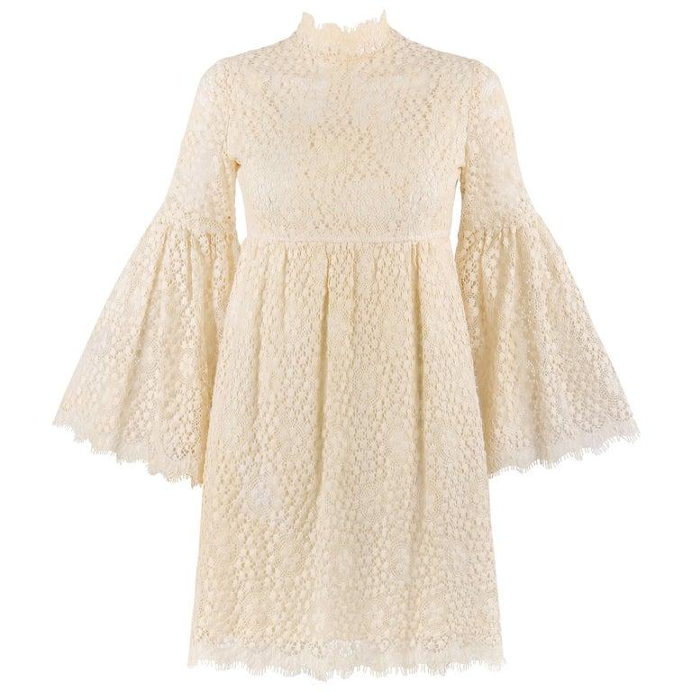 PARC JRS Petite c.1960's Cream Floral Crochet Lace Flounce Sleeve Babydoll Dress