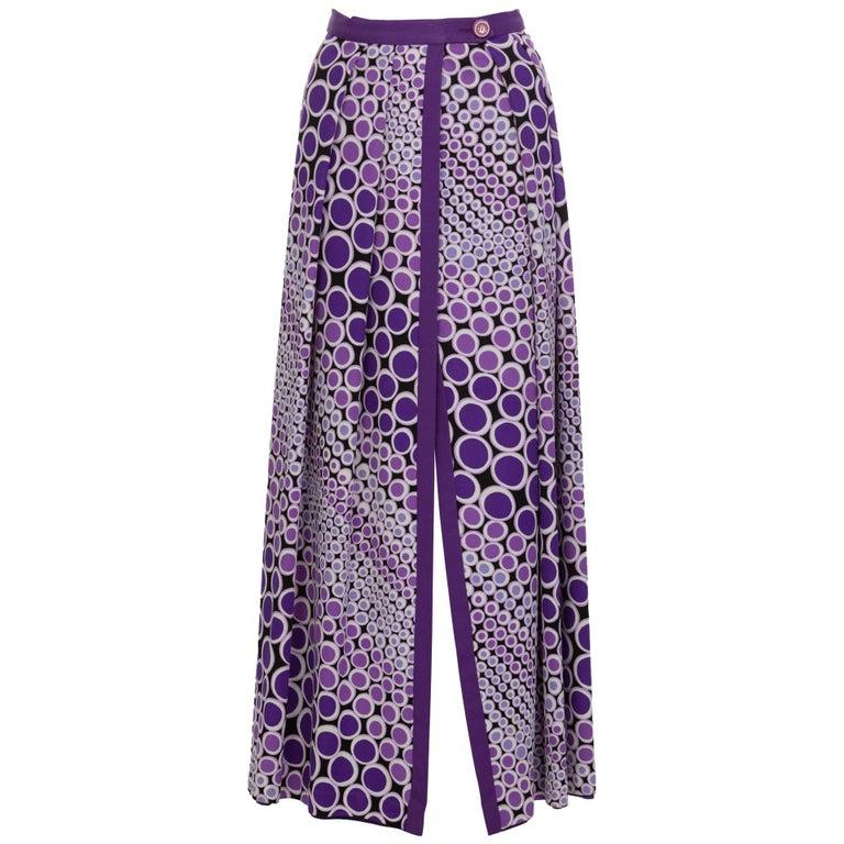 Mod Purple and White Polka Dot Maxi Wrap Skirt, 1970s