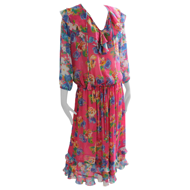 6c356b5434 Vintage Diane Freis 2pc Dress Georgette Florals Ruffles Tassels Size M L 80s  at 1stdibs