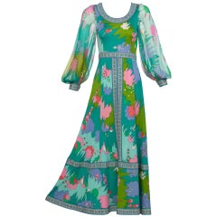 Bessi Multicolored Silk Jersey Chiffon Sleeves Maxi dress, 1970s