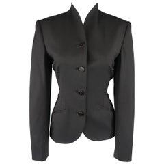 Ralph Lauren Black Wool Stand Up Collar Jacket