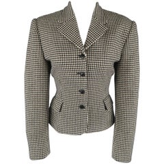 Ralph Lauren Cream and Black Houndstooth Wool / Cashmere Cropped Jacket