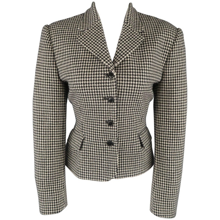 Ralph Lauren Cream and Black Houndstooth Wool / Cashmere Cropped Jacket For Sale