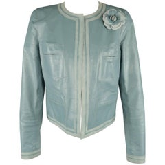 Chanel Light Blue Leather Round Collar Camellia Pin Jacket
