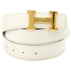 Hermes White and Black Reversible Gold Tone H Buckle Belt Size 90