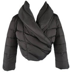 Prada Black Quilted Nylon Cropped Wrap Puffer Jacket