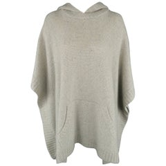 Ralph Lauren Gray Cashmere Knit Hooded Poncho