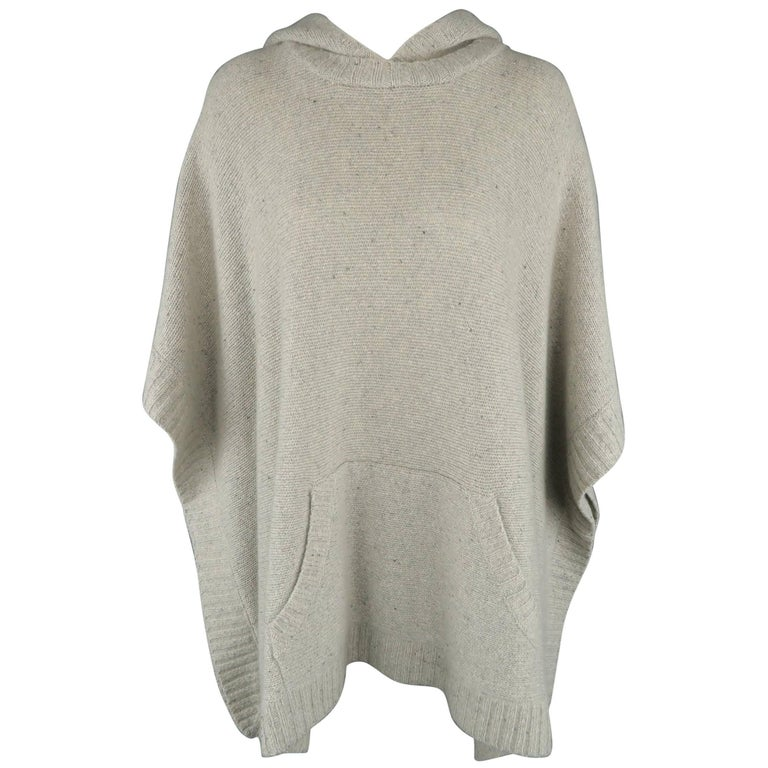 Ralph Lauren Gray Cashmere Knit Hooded Poncho For Sale