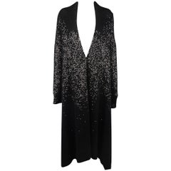 Donna Karan Black Sequined Cashmere / Silk Drape Cardigan