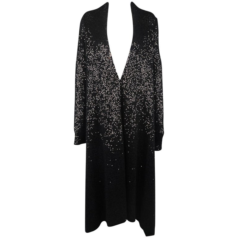 Donna Karan Black Sequined Cashmere / Silk Drape Cardigan For Sale