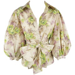 Oscar de la Renta Green and Lavender Floral Silk Ballon Sleeve Blouse