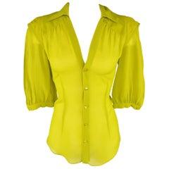 Jean Paul Gaultier Chartreuse Silk Chiffon Shoulder Panel Blouse
