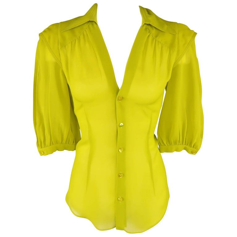 b7fdc025adad8 Jean Paul Gaultier Chartreuse Silk Chiffon Shoulder Panel Blouse For Sale