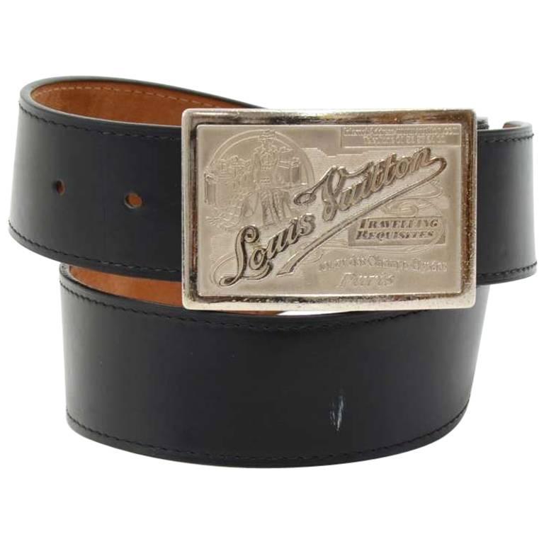 Louis Vuitton Ceinture Jeans Black Leather Limited Edition Belt Size 85/34
