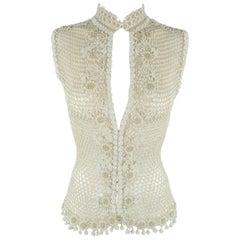 Oscar de la Renta Beige White Beaded Macrame Mesh Knit Vest