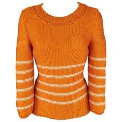 Oscar de la Renta Orange and Cream Striped Silk Knit Pullover