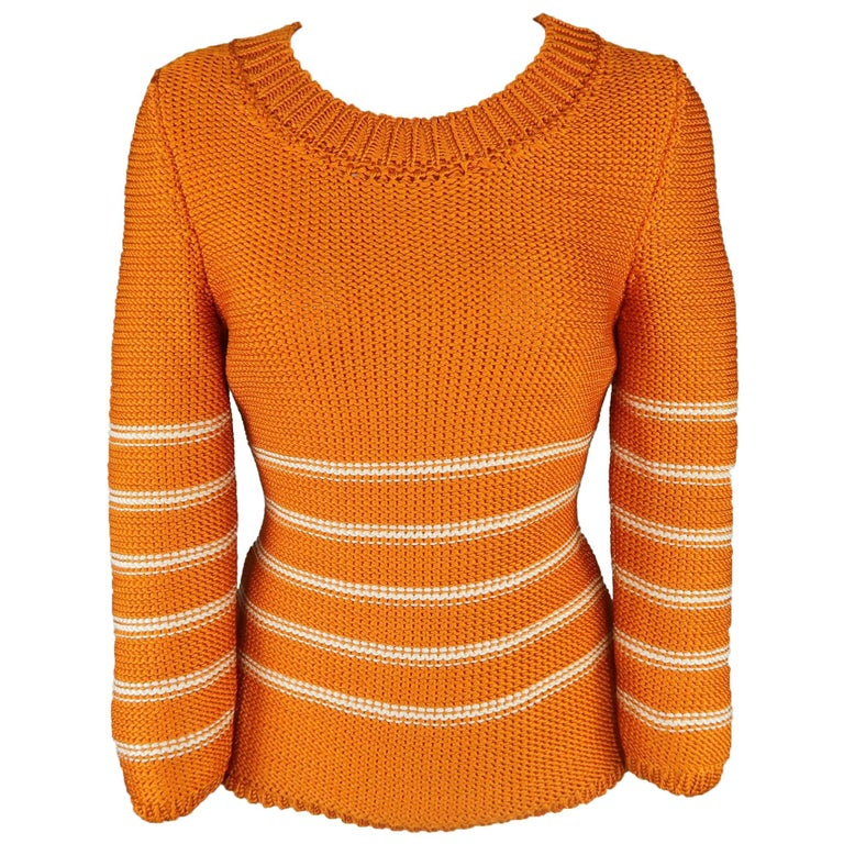 Oscar de la Renta Orange and Cream Striped Silk Knit Pullover For Sale