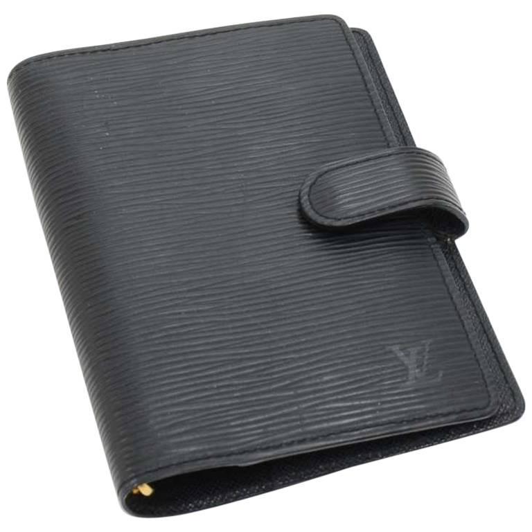 Louis Vuitton Black Epi Leather Ring Agenda Cover  PM  For Sale
